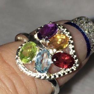 Genuine Multi Gemstone Ring